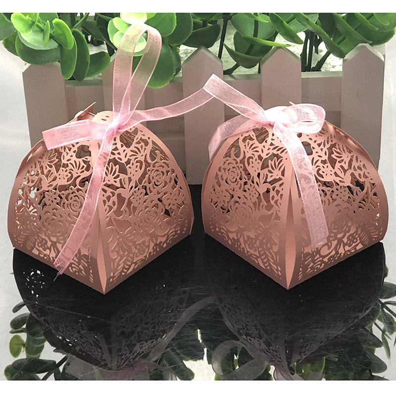 10pcs Laser Cut Flower Wedding Candy Box Wedding Gift Box For Guest Wedding Favors And Gifts Christmas Birthday Party Decoration