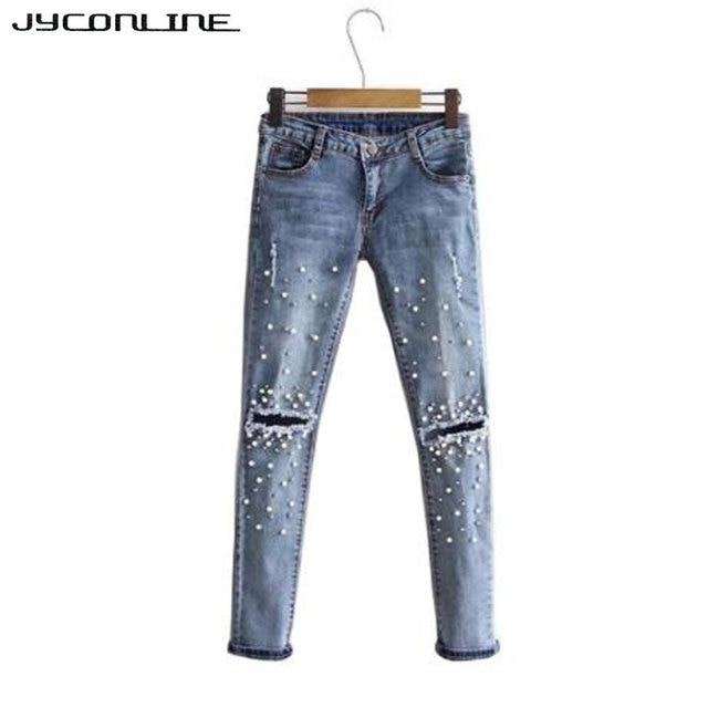 cd4ea6e105f0 JYConline Mode Perle Perles Jeans Femmes Trou Déchiré Jeans Skinny Crayon Denim  Pantalon Jeans Taille Haute