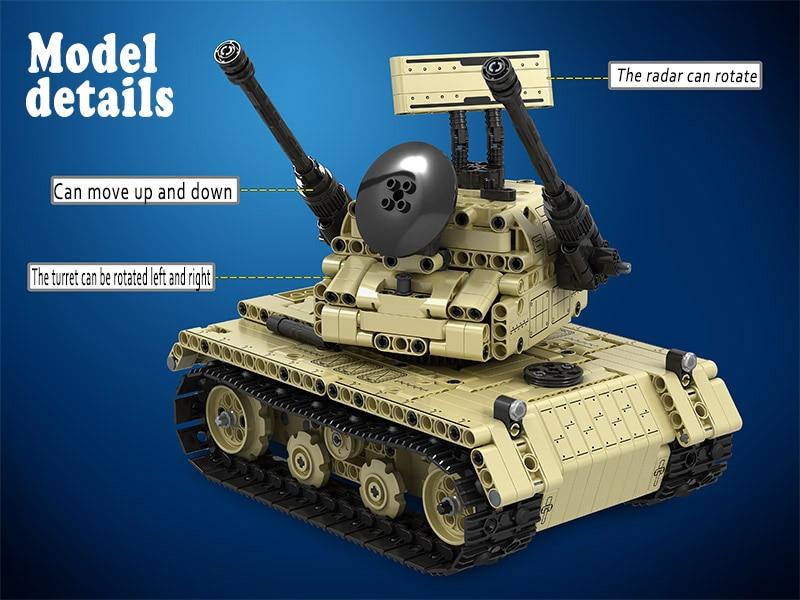 MOC العسكرية خزان التحكم عن بعد 2.4GHz تكنيك مع المحرك مربع 759 قطعة اللبنات الطوب الخالق لعب للأطفال-في حواجز من الألعاب والهوايات على  مجموعة 3