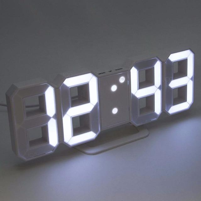 LED Kỹ Thuật Số Đồng Hồ Báo Thức Lớn Chữ Số 3D Đồng Hồ Treo Tường 8 Hình Dạng Điện Tử Bảng Đồng Hồ Kệ Nixie đồng hồ Horloge bích họa trên tường nhà