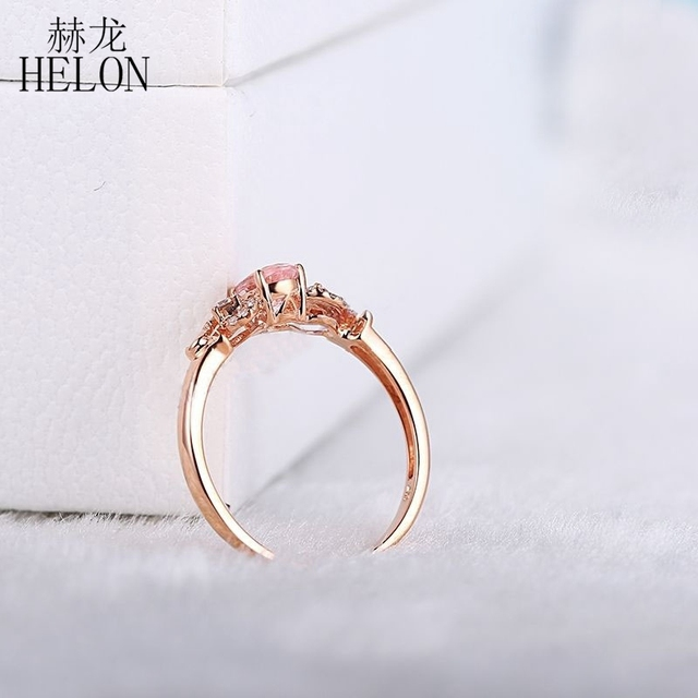 HELON Solid 14k Rose Gold Gemstone Prong Oval Shape 6X4mm Morganite Natural Diamond Beauty Bride Engagement Wedding Fine Ring 5