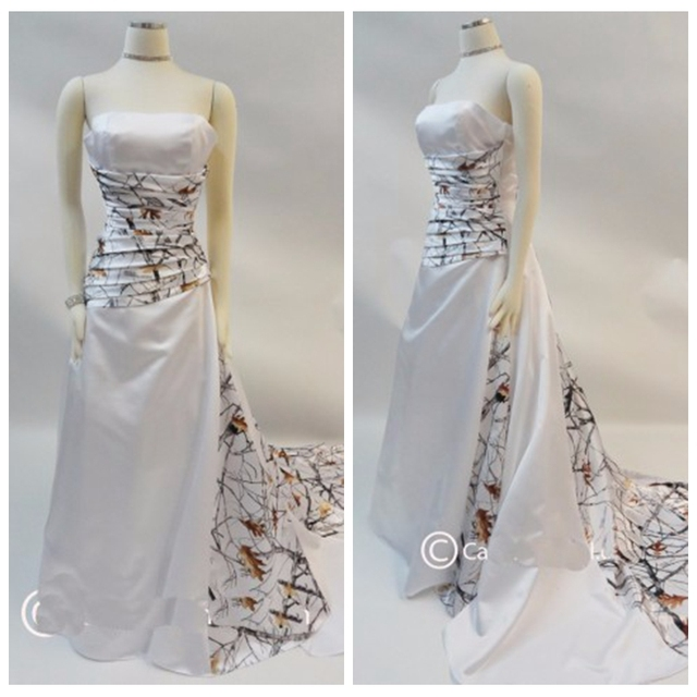 0a09601d55642 Strapless A-Line White Camo Wedding Dress Real Tree Style Pleated Bridal  Gowns White Satin Bridal Formal Dresses Camouflage 2019