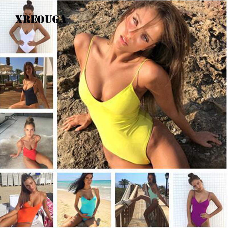 2018 New Women One Piece Swimsuit Sexy Bandage Padded Bathing Suit Push Up Solid High Cut Hot Thong Swimwear Monokini BKLG07
