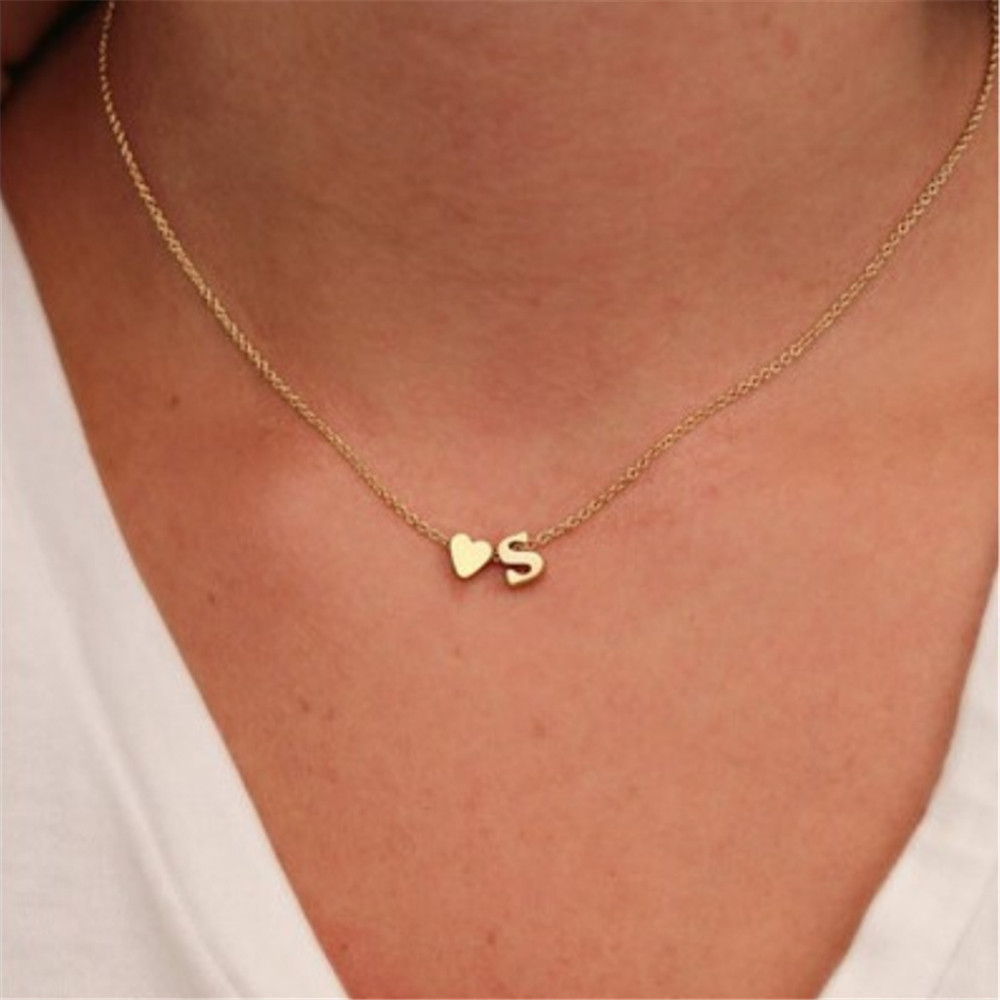 Amiable Ecoday Initial Necklace Women Chocker Personalized Letter Necklace Name Necklace For Women Gold Chain Necklace Collares Ketting