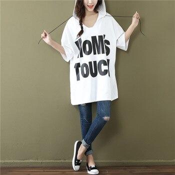 2431e51d065f7 Verano de 2019 más el tamaño de las mujeres con capucha Tee Top estilo  Harajuku carta lema patrón Camiseta de manga corta blanco T camisas