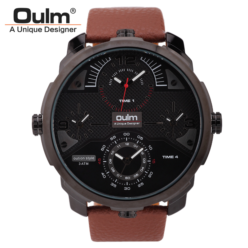 Oulm Brand Mens Genuine Litchi Leather Band Waterproof Quartz Watch Multiple Time Zone Fashion Army Military Wristwatch Gift Box oulm brand mens leather band japan movt quartz watch dual time zone fashion hit color wristwatches with gift box relogio releges