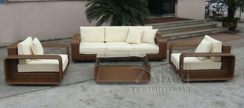 4-pcs PE new design garden rattan sofa patio furntiure Pastoralism Home Indoor / Outdoor Rattan Sofa For Living Room
