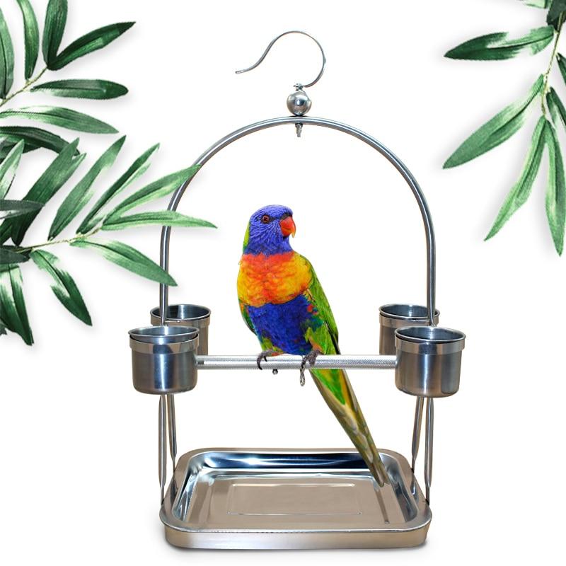 Portable DIY Acier Inoxydable Parrot Stands En Acier Alimentaire Conteneurs Alimentaire Plateau Climb Stand D'oiseaux de Compagnie Accessoires Oiseau Cage CW077