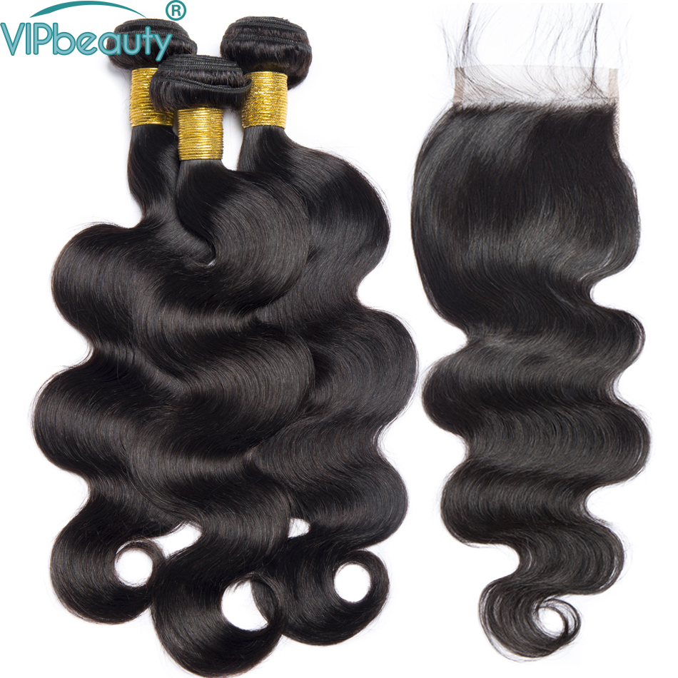 VIP beauty Peruvian body wave 3 bundles with closure 100 human hair bundles with closure non