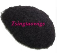 Mens Toupee Afro Kinky Curly Hair Piece Men Hair Systems Poly Perimeter Free shipping