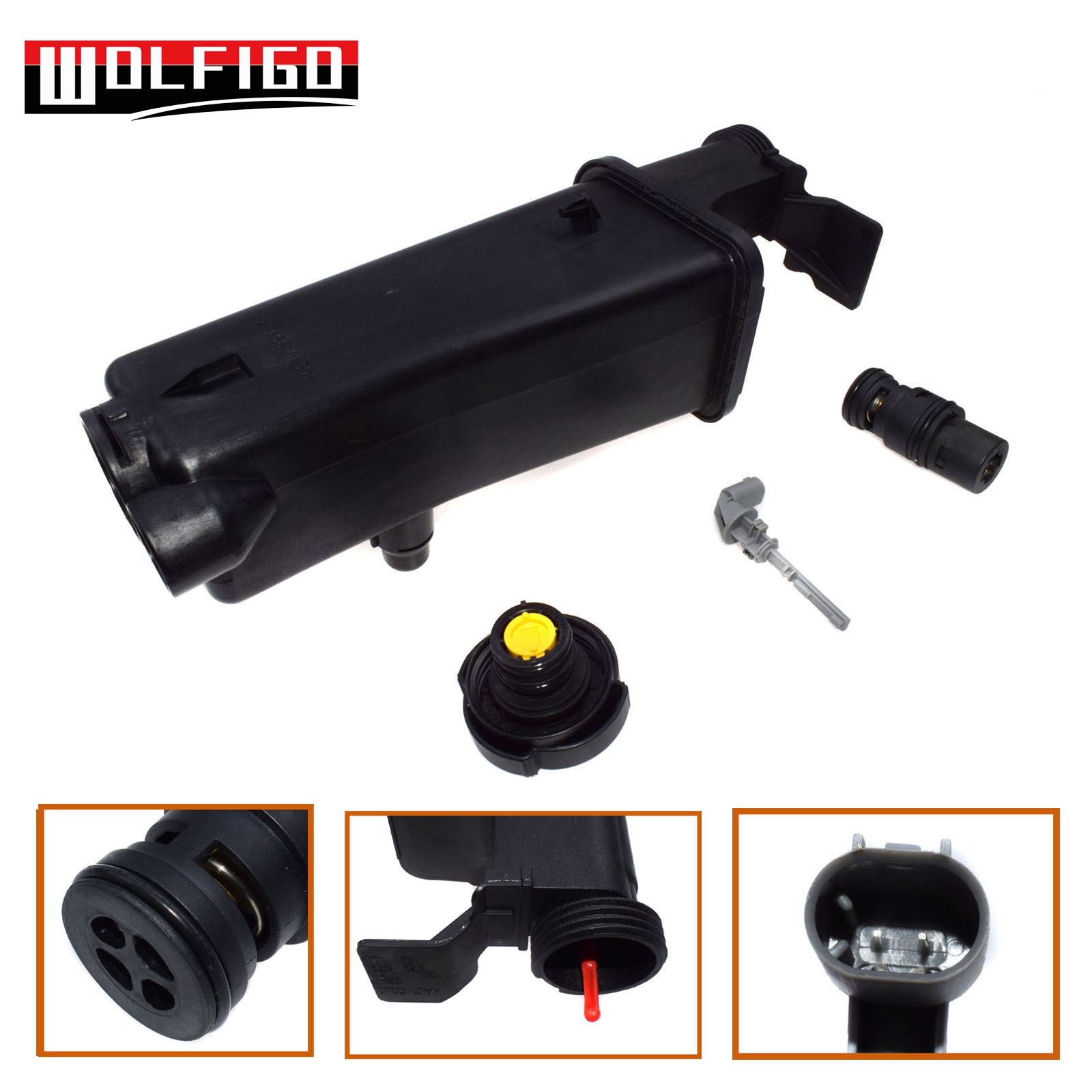 WOLFIGO Radiator Coolant Overflow Expansion Tank Reservoir & Cap & Level Sensor & Thermostat Kit 17117573781,17111468077 New