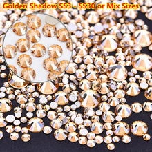 dfc5dd3331e1 Ss3-ss30 tamaño de mezcla de cristal de oro sombra no Hotfix espaldas  planas de diamantes de imitación de Cristal Swarovski SS20.