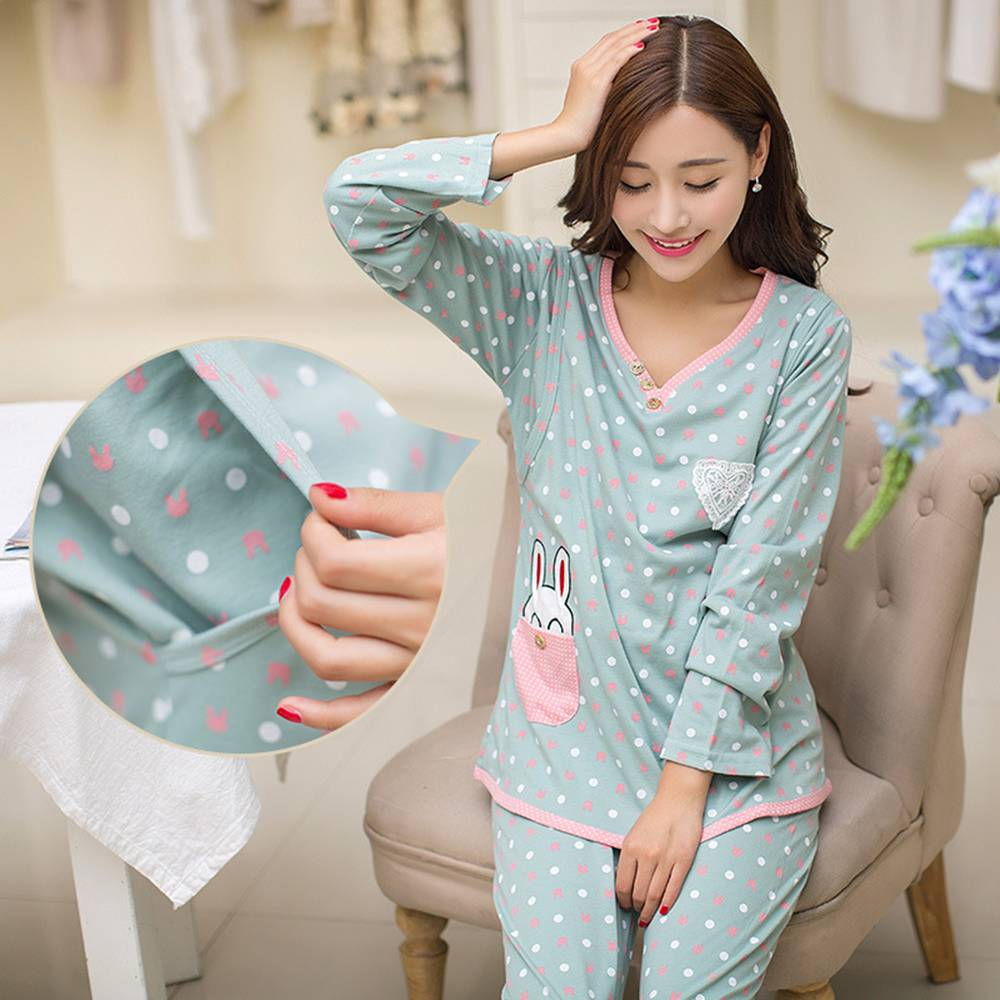 2PCS Maternity Nursing Pajamas Set Flower Dot Cotton Adjustable Maternity Nursing Sleepwear Maternity Breast Feeding Clothes Set