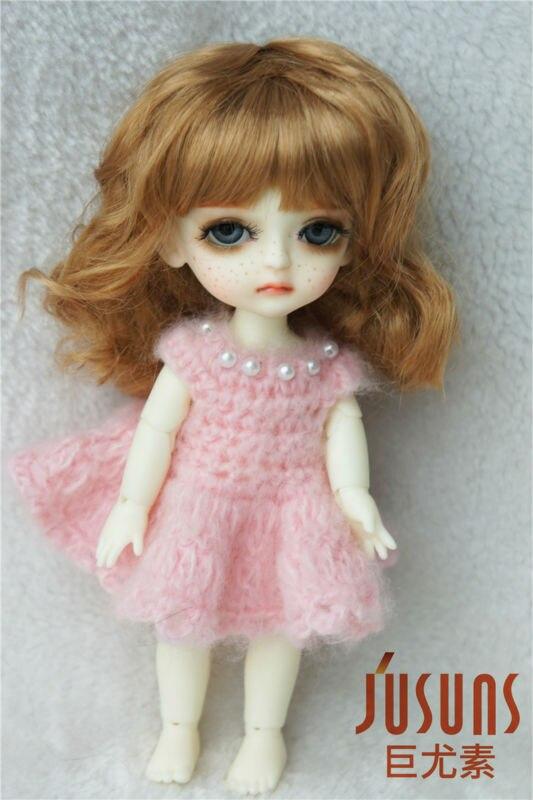 JD260 Lati yellow doll wig 5-6 inch 1/8 Lady slight curly doll wig