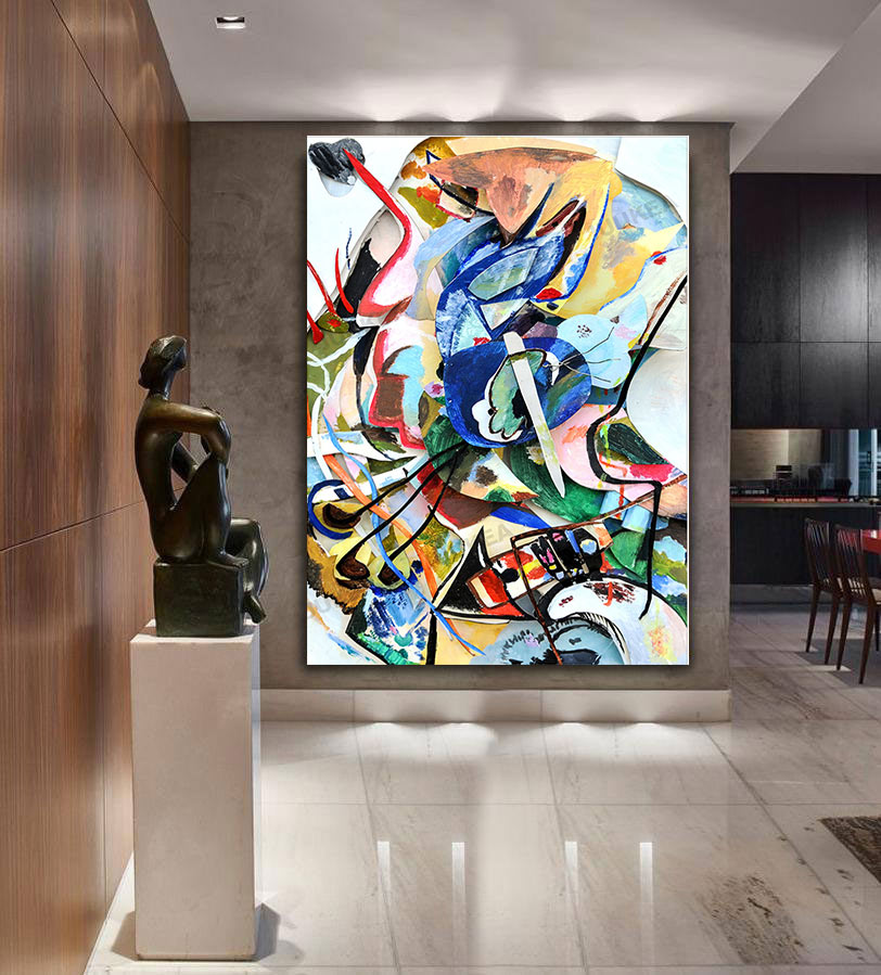 Us 80 99 9 Off Handmade Wassily Kandinsky Geometric Abstract Canvas Oil Painting Art Wall Pictures For Living Room Home Decor In Painting