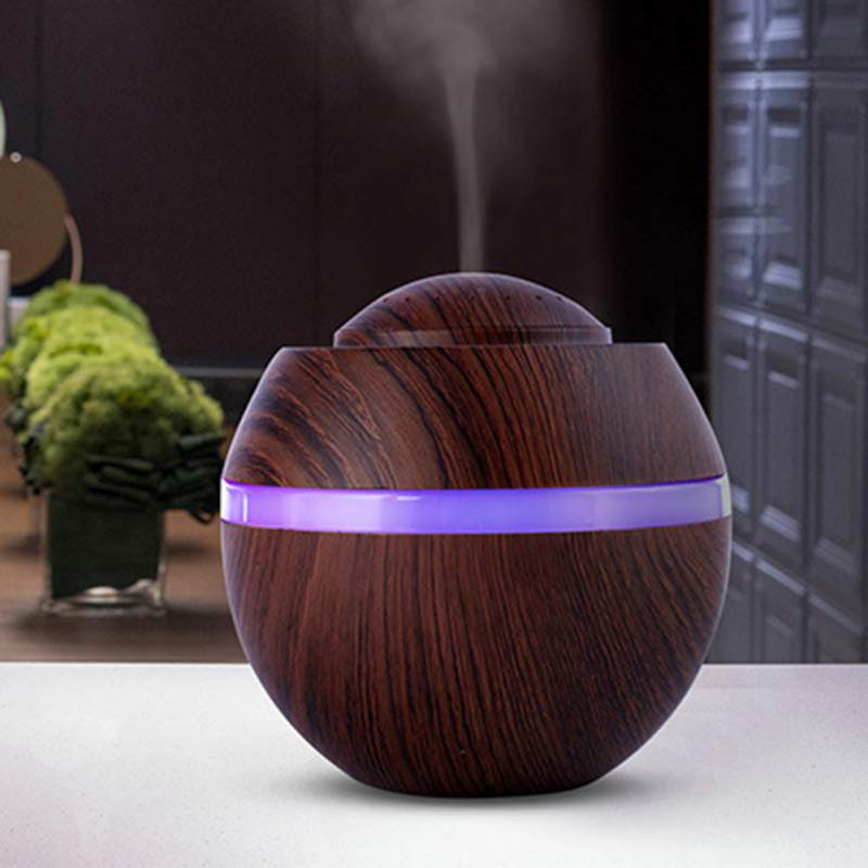 USB Ultrasonic Air Humidifier Aroma Essential Oil With Wood Grain 7 Color LED Night Light For Office Home 500 ML