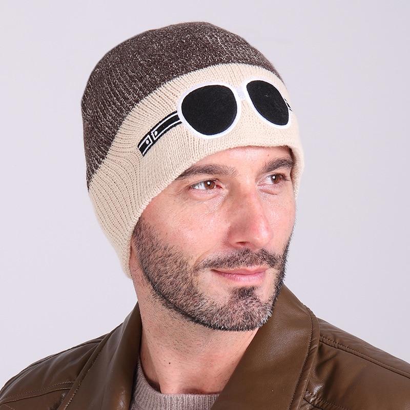 Fashion Brand Knitted Cool glasses Hat Winter Hats   Beanies   For Men Women Winter   Skullies     Beanies   Men Caps Gorras BonnetWarm