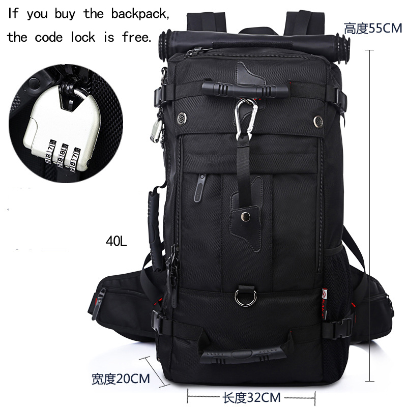 40L Backpack Male Travel Big Backpack Trip Bag Large Capacity Multi function Waterproof Mountaineering Bag Man Duffle KA70