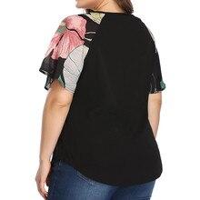 Chiffon Blouse Women Shirt Casual Floral Print Tops O-Neck Plus Size Blouse Short Sleeve shirt