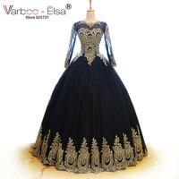 VARBOO_ELSA dubai Uzun Kollu Tül Balo Elbise 2018 Vintage arabe altın Tel Nakış Siyah Uzun Akşam Elbise O Boyun Top kıyafeti