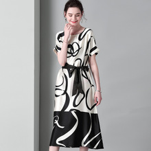 100% Silk Dress Women Loose Printing Summer Belt Stain Midi Dresses Soft Bat Sleeve Ladies vestidos High Quality Luxury sukienka