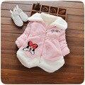 Nova Primavera 2016 Crianças Minnie Hoodies do Revestimento do Revestimento Do Bebê Meninas Roupas de Inverno Crianças Outerwear Casaco Quente para giirls Toddle infantil