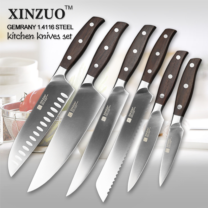 Xinzuo ferramentas de cozinha 6 pçs faca de cozinha conjunto utilitário cutelo chef pão faca cozinha conjuntos facas aço inoxidável ferramentas de cozinha