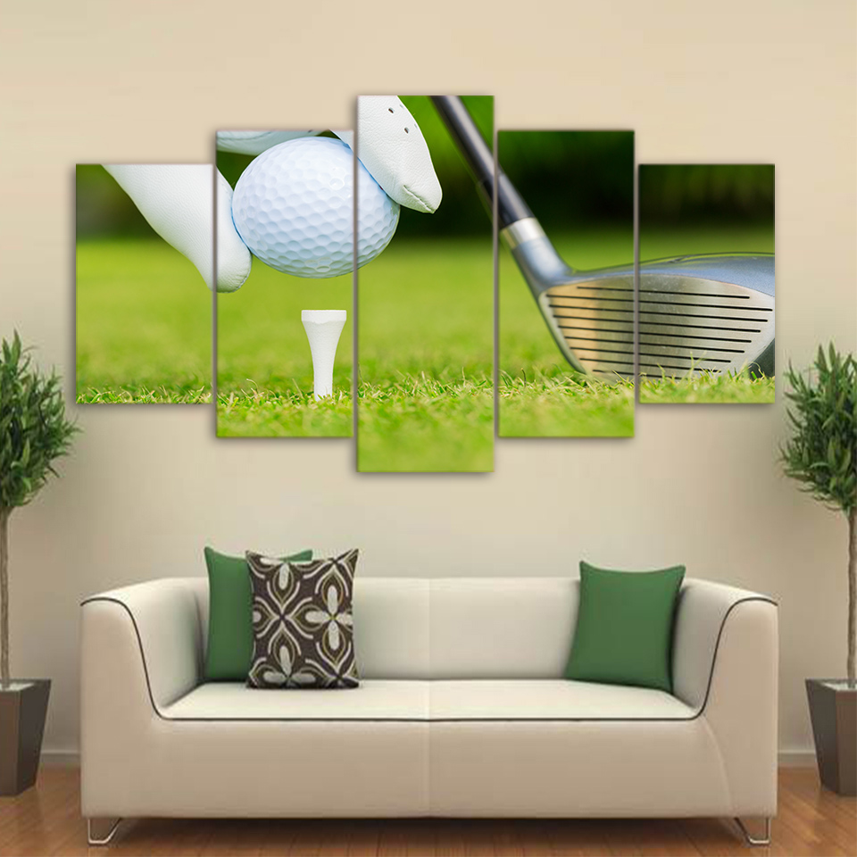5 Pieces Modern Wall Pictures Foe Home Decoration Golf Ready For Kickoff  Posters Living Room HD Canvas Oil Painting ArtworksAnimated Golf Pictures  Promotion  Golf Decorated Rooms  Great golf room idea My hubby would be in  . Golf Decorated Rooms. Home Design Ideas