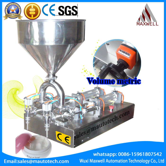 Double nozzle filling machine for cosmetic, paste like honey, cream, sauce double nozzle filling machine for cosmetic paste like honey cream sauce