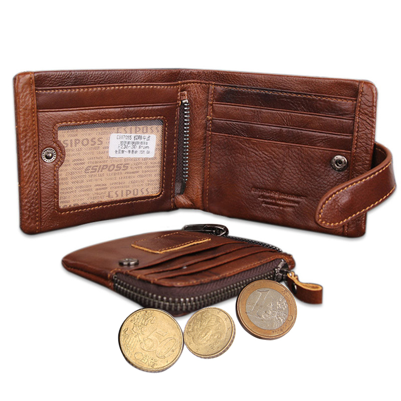 Hot Sale Classical Men's Wallets Genuine Leather Short Fashion Zipper Hasp Brand Coin Pocket Purse ID Credit Card Holder Wallet contact s genuine cowhide leather men wallet trifold wallets fashion design brand purse id card holder with zipper coin pocket