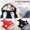Мода Европа Новорожденный спальный мешок акула шаблон Для предотвратить удар одеяло для детей сфотографировать пеленания 8 цвет