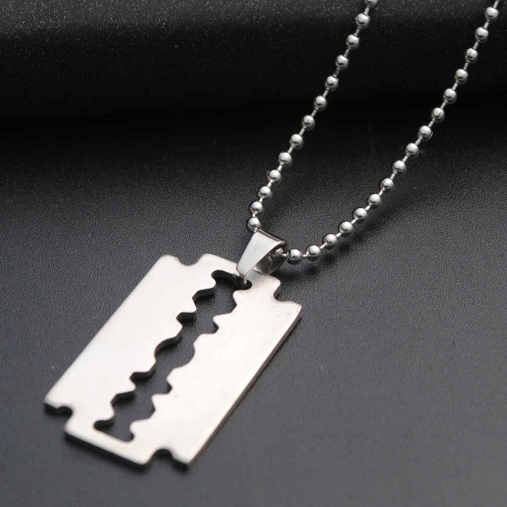Punk hip-hop klasyczny Model ostrza wisiorek naszyjnik srebrny raper mężczyźni ulicy moda popularne metalowe długi łańcuch dekoracyjna biżuteria