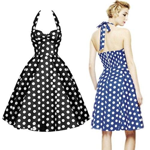 New Women s Vintage Style Summer Sweetheat Dots Party Dress Robe Rockabilly  Halter Ball Retro Fashion Vestidos XXL 8bdac6a359
