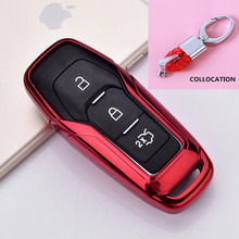 TPU Car Smart Remote Key Case Automobile Protective Skin Shell Cover For Ford Edge Mondeo Mustang Keys keychain