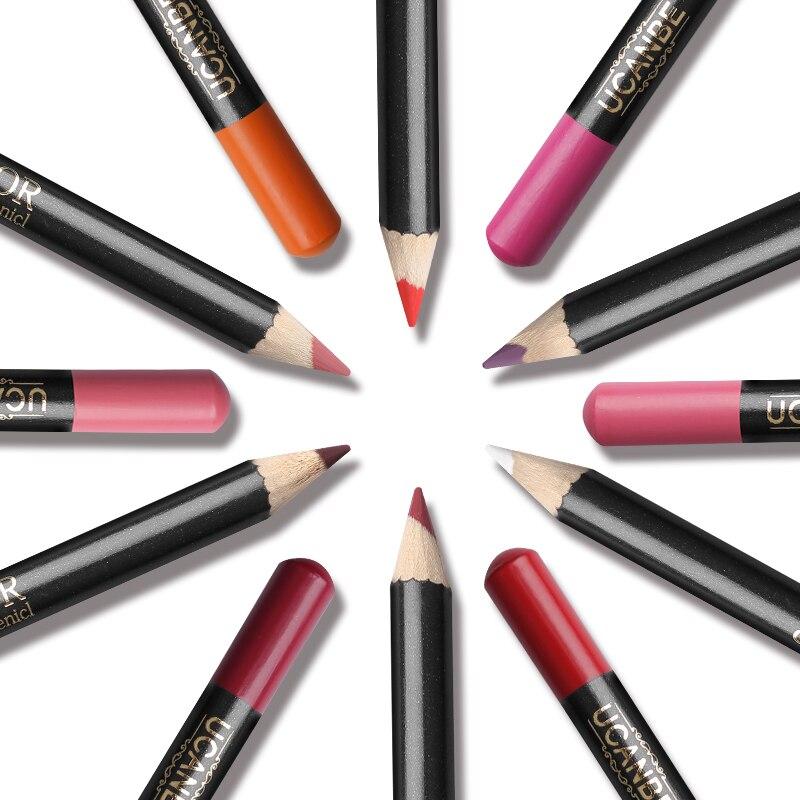UCANBE 12pcs Lip Liner Pencil Makeup Set Lipliner Waterproof Long-lasting Lip Contour Soft Matte Professional Lip Stick Cosmetic 6