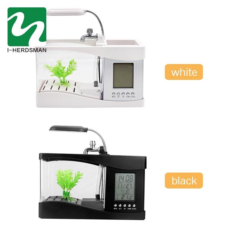 Aquarium USB Mini Aquarium Aquarium Aquarium avec lumière de lampe à LED écran d'affichage LCD et horloge Aquarium Aquarium noir/blanc - 5