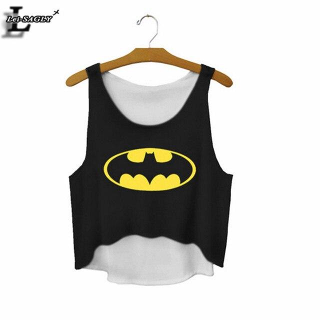 Lei-SAGLY знак Бэтмена мультфильм печатных черная рубашка с полосатым принтом на одно плечо эластичный милый сексуальный короткий топ для фитнеса женщин укороченный жилет F669