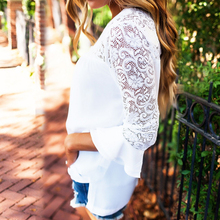 Women Top Long Sleeve Elegant White Lace Blouse Femme Hollow Out Ladies Office Shirt