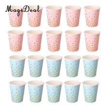 MagiDeal Lovely 10Pcs/Pack Glitter Polka Dot Paper Cup Craft for Baby Shower Wedding Birthday Festival Party Tableware Pink/Blue