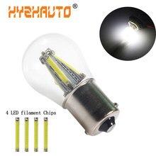 O filamento 4led da luz do carro do diodo emissor de luz de hyzhauto 1156 ba15s p21w lasca a luz reversa do sinal de volta do veículo do automóvel ilumina lâmpadas 12-28v novo estilo