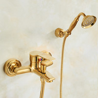Bathtub Faucets Wall Mounted Brass Bathtub Faucet With Hand Shower Bathroom Bath Shower Faucets Single Handle Golden Torneiras