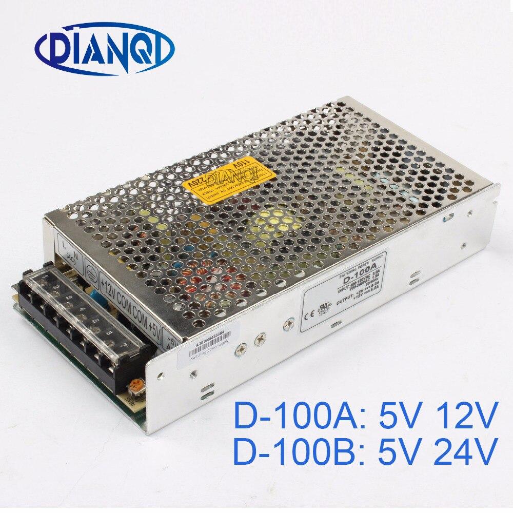 купить DIANQI dual output Switching power supply 100w 5v 12v 24V power suply D-100A ac dc converter D-100B по цене 928.17 рублей