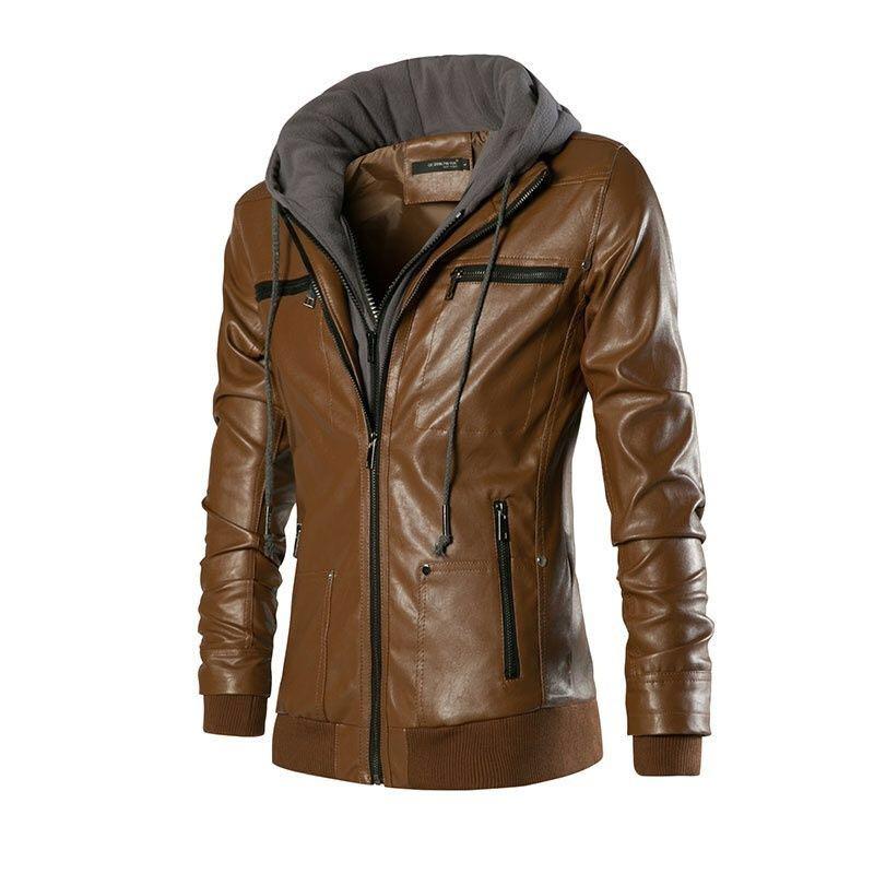 Hommes moto noir kaki blanc PU cuir hoodies hommes Slim Fit sweats à capuche hiver fermetures à glissière épaissir vêtements d'extérieur manteau 072707