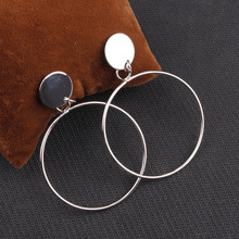 2019 earrings for women fashion big hollow drop Simple  gold color Silver plated geometric round jewelry