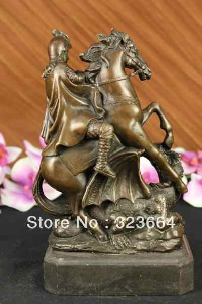 SCY Сент-Джордж Убийца Драконов Бронзовая Статуя Военные Святая Католическая Покровитель Скульптура