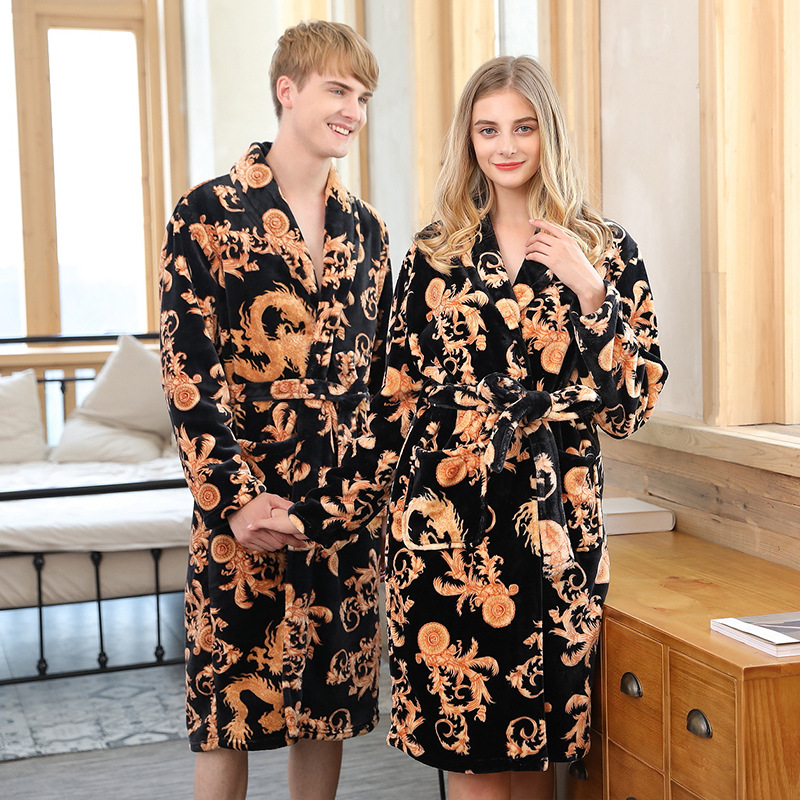 a933a65ebf Detail Feedback Questions about Men Women Autumn Winter Flannel Robe Couple  Printing Dragon Thin Bathrobe for Male Female Home Wear Warm Nightgown on  ...