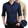 Новая Коллекция Весна Осенняя Мода Бренд Мужской Одежды Slim Fit Мужчины Длинные рукав Рубашки Мужчин Горошек Случайные Люди Рубашки Социальной Плюс Размер M-5XL