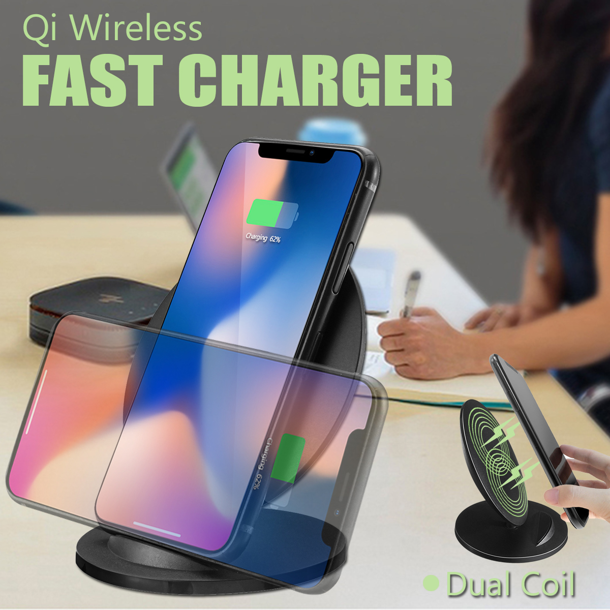 Q8 Black Wireless Qi Fast Charger Dual Coil Phone Charge