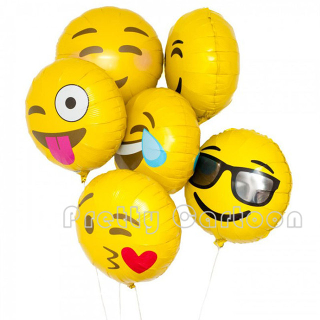 50pcs Lot 18inch Expression Balloons Emoji Foil Balloon Happy Birthday Party Emoticons Helium Ballon Wedding Decoration