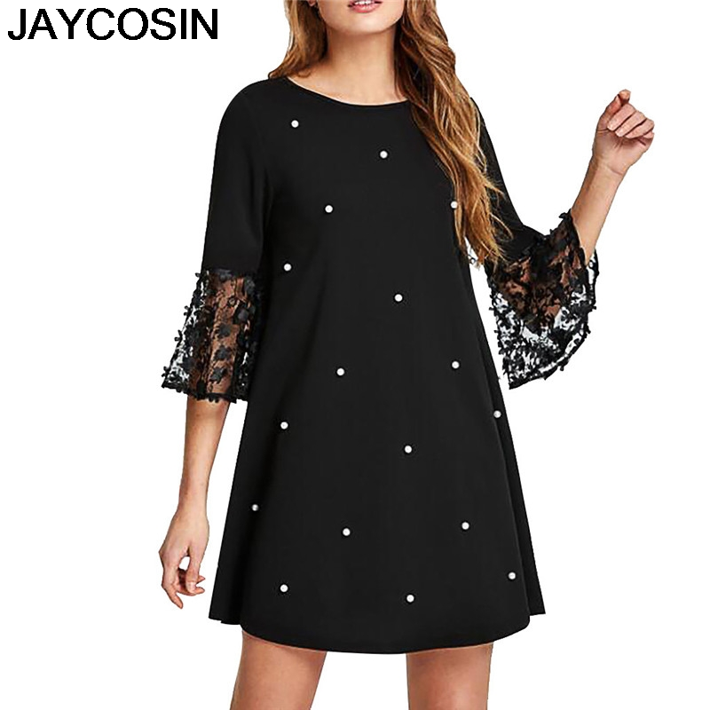 JAYCOSIN 2019 New Summer Women Dress Plus Size Dot Print O-Neck Spliced Hollow Out Three Quarter Sleeve Dresses Vestido jy9